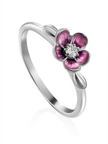 Silver Enamel Cherry Blossom Motif Ring, Ring Size: 6 / 16.5, image