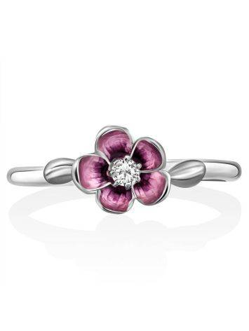 Silver Enamel Cherry Blossom Motif Ring, Ring Size: 6 / 16.5, image , picture 4