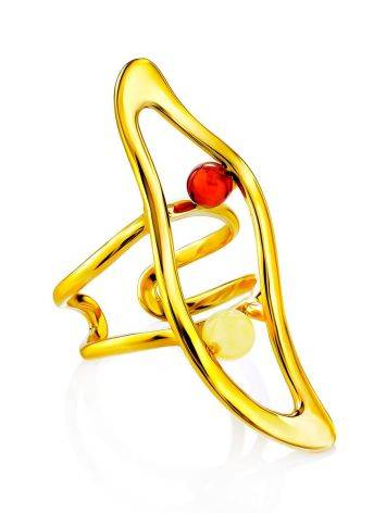 Voluminous Gilded Silver Amber Adjustable Ring The Palazzo, Ring Size: Adjustable, image , picture 2