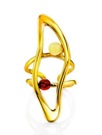 Voluminous Gilded Silver Amber Adjustable Ring The Palazzo, Ring Size: Adjustable, image