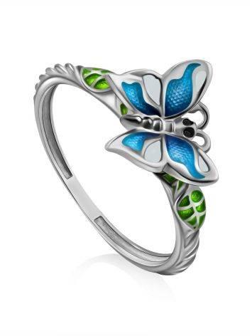 Cute Silver Enamel Butterfly Motif Ring, Ring Size: 7 / 17.5, image