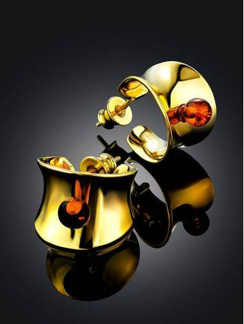 Chunky Gilded Silver Amber Half Hoop Earrings The Palazzo, image , picture 2