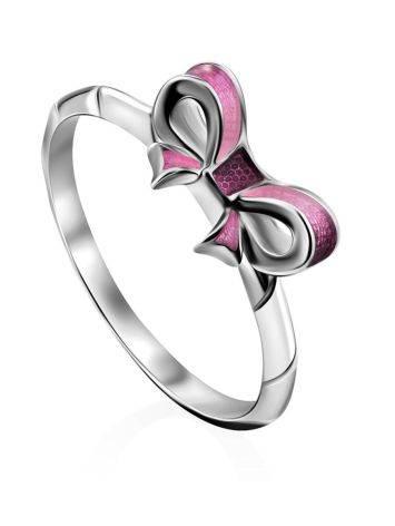 Bow Motif Silver Enamel Ring, Ring Size: 6 / 16.5, image
