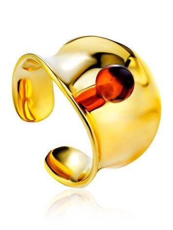 Bright Gilded Silver Amber Ring The Palazzo, Ring Size: Adjustable, image