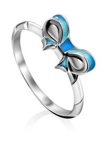 Cute Bow Motif Silver Enamel Ring, Ring Size: 6 / 16.5, image