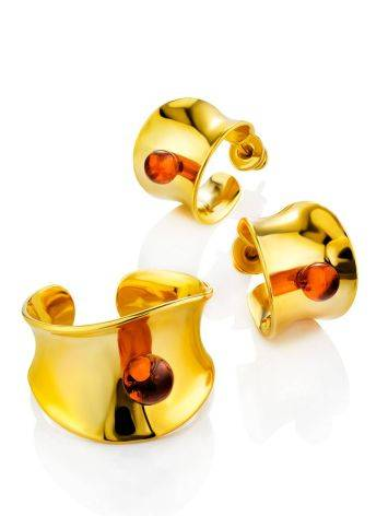 Bright Gilded Silver Amber Ring The Palazzo, Ring Size: Adjustable, image , picture 4