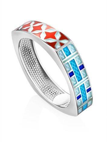 Mosaic Design Silver Enamel Ring, Ring Size: 9 / 19, image