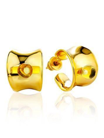 Trendy Gilded Silver Amber Half Hoop Earrings The Palazzo, image