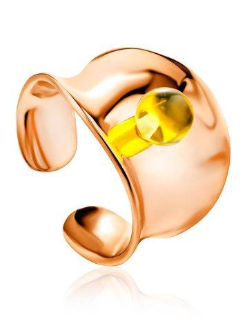 Fashionable Rose Plated Silver Amber Ring The Palazzo Collection, Ring Size: Adjustable, image
