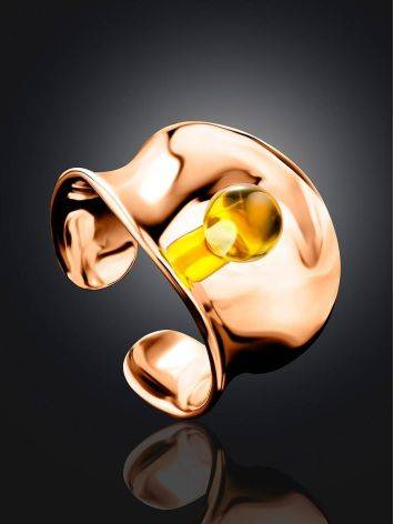 Fashionable Rose Plated Silver Amber Ring The Palazzo Collection, Ring Size: Adjustable, image , picture 2