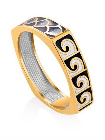 Grecian Pattern Gilded Silver Enamel Ring, Ring Size: 9 / 19, image