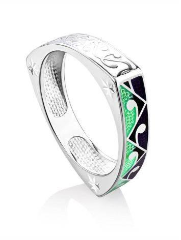 Designer Silver Enamel Ring, Ring Size: 8.5 / 18.5, image