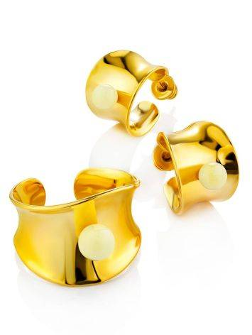 Lustrous Gilded Silver Amber Stud Hoop Earrings The Palazzo, image , picture 3