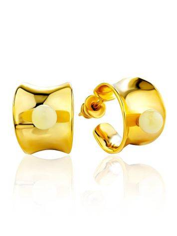 Lustrous Gilded Silver Amber Stud Hoop Earrings The Palazzo, image