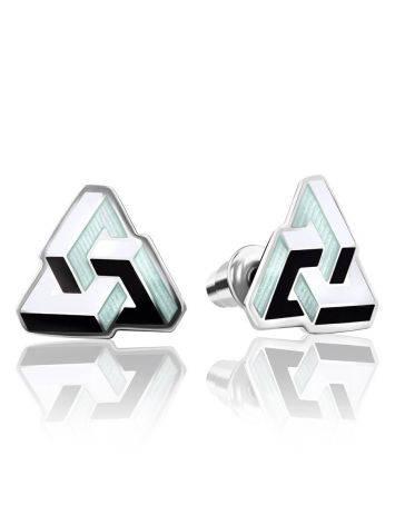 Geometric Silver Enamel Stud Earrings, image