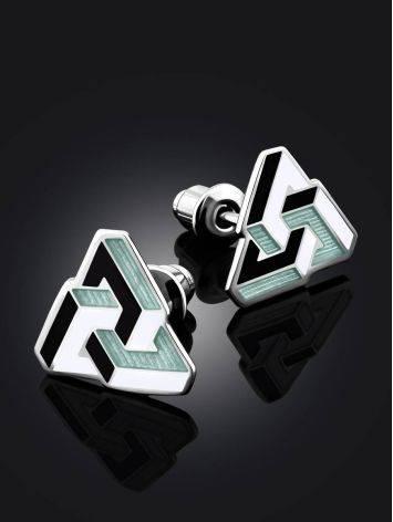 Geometric Silver Enamel Stud Earrings, image , picture 2