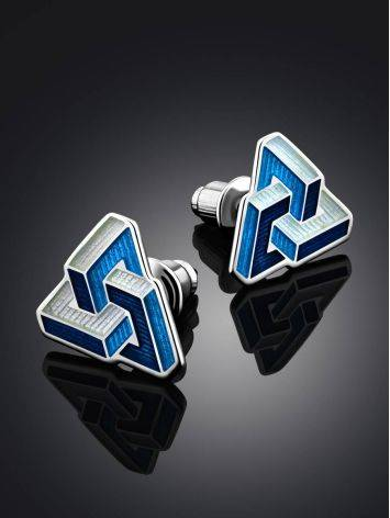 Abstract Design Geometric Enamel Stud Earrings, image , picture 2