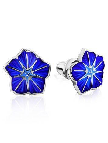 Silver Enamel Petunia Motif Stud Earrings, image