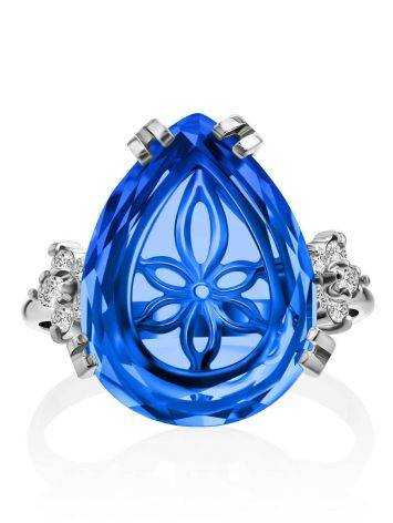 Chic Silver Blue Quartz Ring, Ring Size: 6.5 / 17, image , picture 3