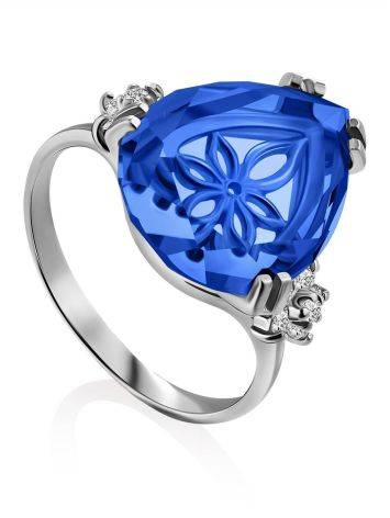Chic Silver Blue Quartz Ring, Ring Size: 6.5 / 17, image