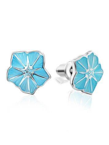 Cute Silver Enamel Floral Stud Earrings, image