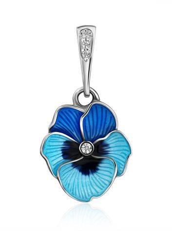 Cute Blue Enamel Floral Pendant, image