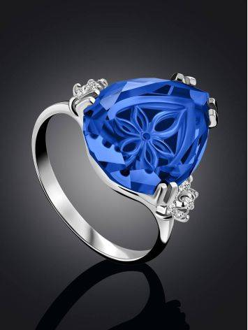 Chic Silver Blue Quartz Ring, Ring Size: 6.5 / 17, image , picture 2