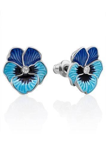 Cute Blue Enamel Floral Stud Earrings, image