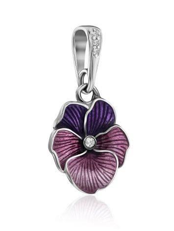 Violet Motif Silver Enamel Pendant, image , picture 4