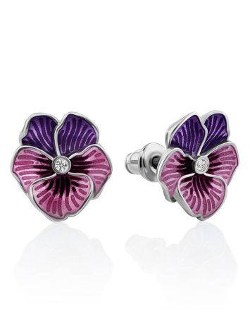 Violet Motif Silver Enamel Stud Earrings With Crystals, image