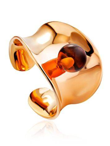 Stylish Rose Plated Silver Amber Ring The Palazzo, Ring Size: Adjustable, image