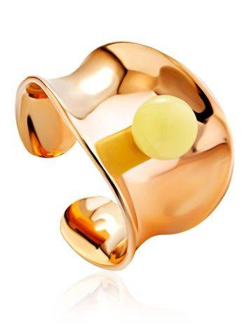 Rose Plated Silver Amber Ring The Palazzo, Ring Size: Adjustable, image