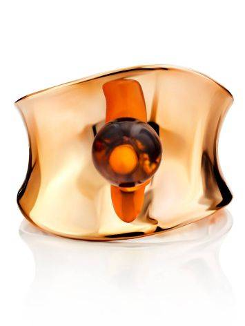 Stylish Rose Plated Silver Amber Ring The Palazzo, Ring Size: Adjustable, image , picture 4
