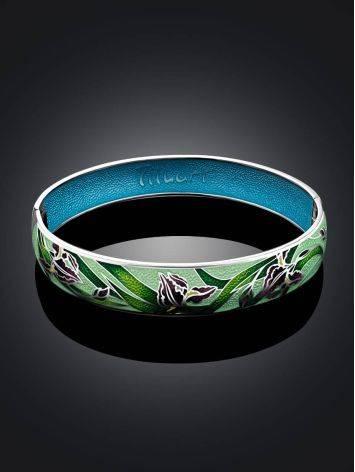 Silver Enamel Iris Motif Bangle Bracelet, image , picture 2