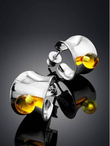 Sterling Silver Amber Stud Earrings The Palazzo, image , picture 2