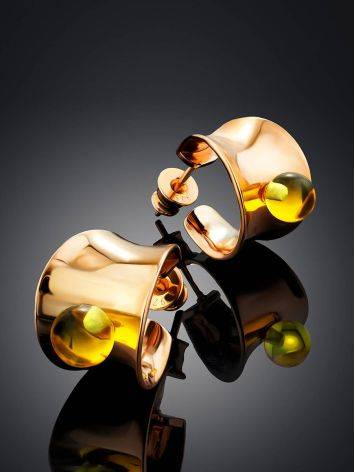 Bright Rose Plated Silver Amber Stud Hoop Earrings The Palazzo, image , picture 2