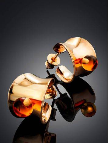 Rose Gold Plated Silver Amber Stud Hoop Earrings The Palazzo, image , picture 2