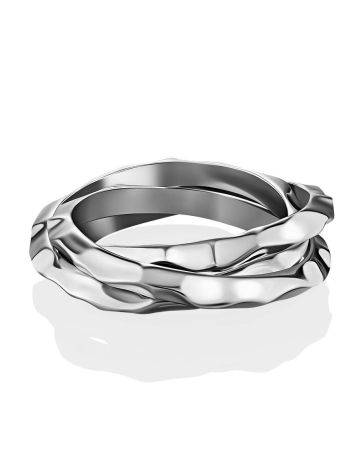 Textured Silver Triple Ring The Liquid, Ring Size: 5.5 / 16, image , picture 2