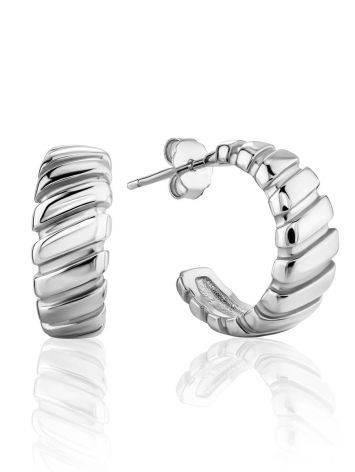 Retro Vibe Silver Mini Hoop Earrings The ICONIC, image