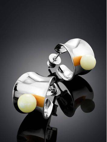 Chic Silver Amber Half Hoop Earrings The Palazzo, image , picture 2