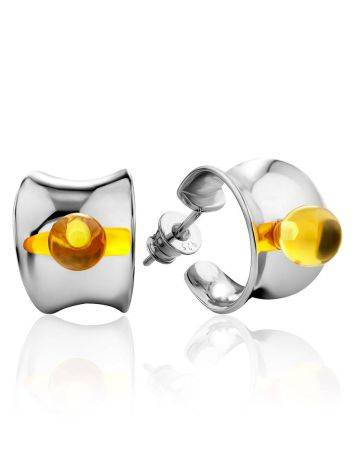 Sterling Silver Amber Stud Earrings The Palazzo, image