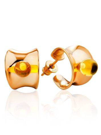Bright Rose Plated Silver Amber Stud Hoop Earrings The Palazzo, image