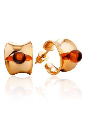 Rose Gold Plated Silver Amber Stud Hoop Earrings The Palazzo, image
