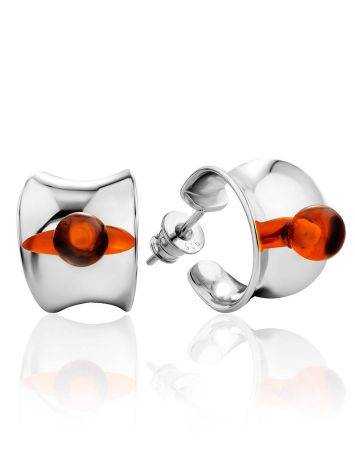 Boho Chic Silver Amber Stud Earrings The Palazzo, image