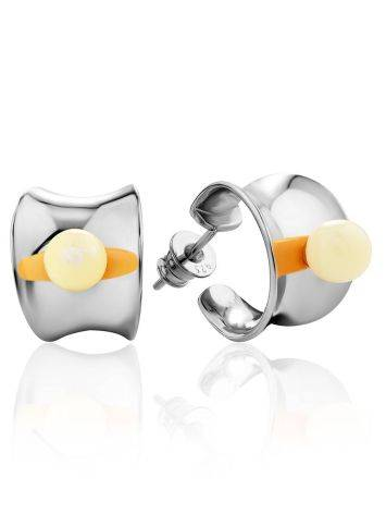 Chic Silver Amber Half Hoop Earrings The Palazzo, image