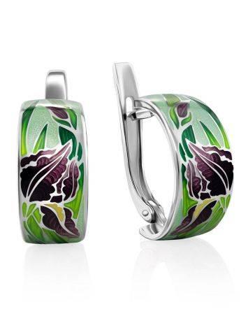 Silver Enamel Iris Motif Earrings, image