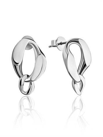 Stylish Silver Chain Earrings The ICONIC, image