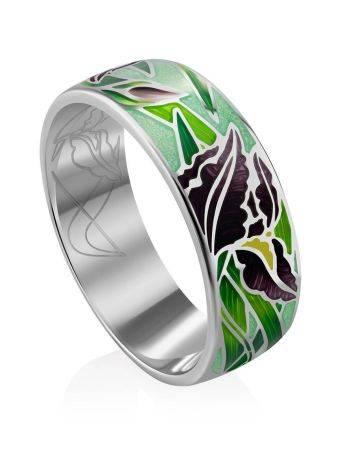 Silver Enamel Iris Motif Band Ring, Ring Size: 8.5 / 18.5, image