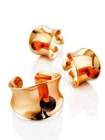 Rose Gold Plated Silver Amber Stud Hoop Earrings The Palazzo, image , picture 3