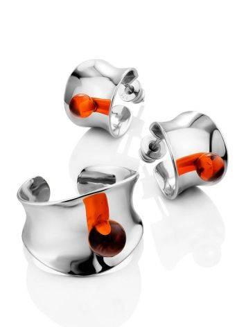 Boho Chic Silver Amber Stud Earrings The Palazzo, image , picture 3